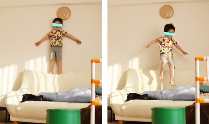 ソファは立派な室内遊具