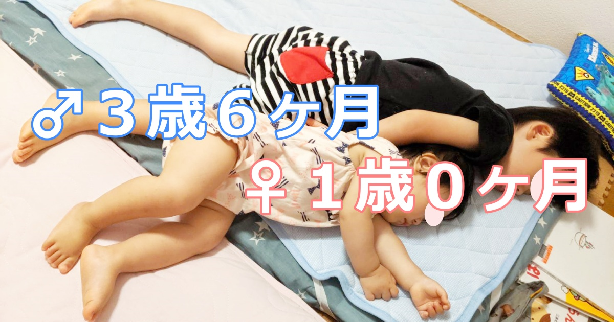 育児記録-3歳6ヶ月男+1歳0か月女