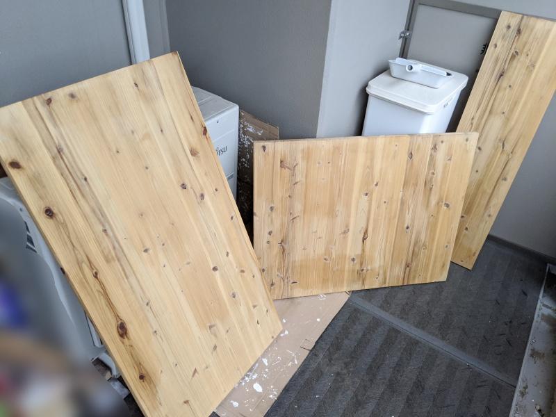 3つに分割した杉無垢板