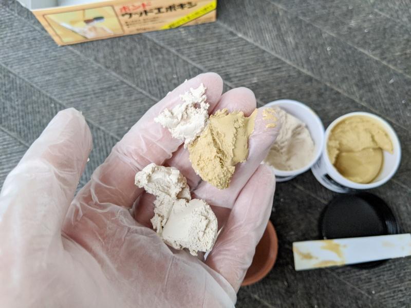 ウッドエポキシはA剤B剤を等量使う